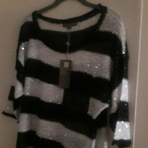 Pretty black n silver sequined blouse